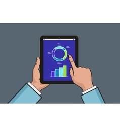 two hands holding tablet with business diagram and vector image vector image