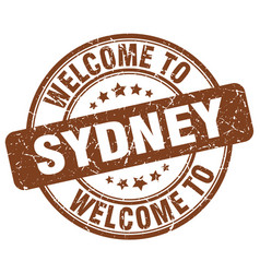 welcome to sydney brown round vintage stamp vector image