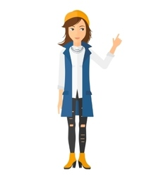 Woman pointing up with her forefinger vector image