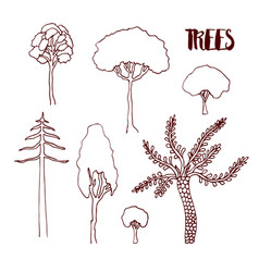 hand sketch trees set hand drawn isolated vector image
