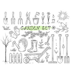 set of isolated garden tools vector image