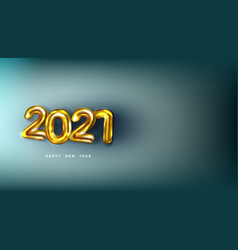 3d happy new 2021 year golden numbers poster vector image
