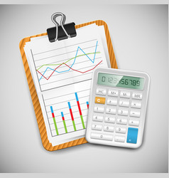 A document table with a calculator vector