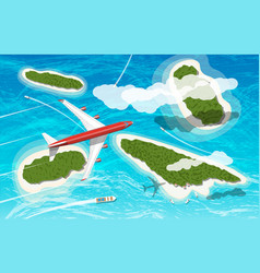 airplane flies above few tropical islands vector image