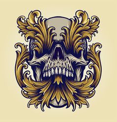 angry skull victorian gold ornaments vector image