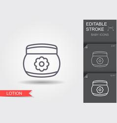 Baby cream lotion line icon with editable stroke vector