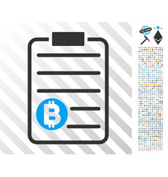 Bitcoin price list flat icon with bonus vector