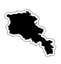 black silhouette of the country armenia with the vector image