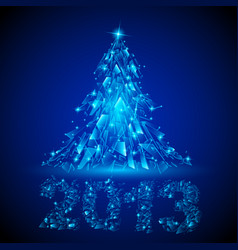blue christmas tree twenty-thirteen broken glass vector image