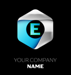 blue letter e logo in the silver-blue hexagonal vector image