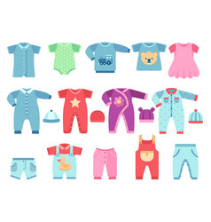 boy and girl bagarments infant clothes vector image