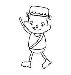 Boy frankenstein costume trick or treat happy vector