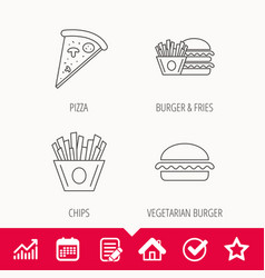 Burger pizza and chips fries icons vector