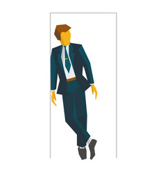 Businessman standing in doorway business concept vector