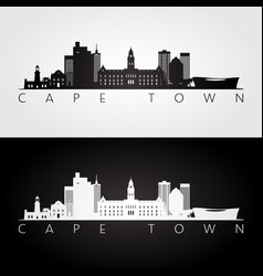 Cape town skyline and landmarks silhouette vector