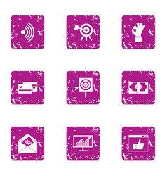 Capital expenditure icons set grunge style vector