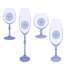Champaign glasses cut glass blue vector