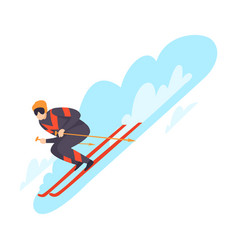 character skiing in snow vector image