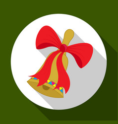christmas bell icon on green background with long vector image