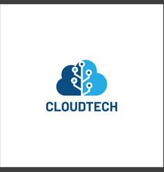 Cloud tech logo cloud technology logo datacloud vector