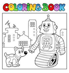 Coloring book robot theme 2 vector