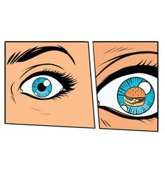 Comic storyboard hungry woman and burger vector