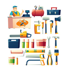 construction tools store assortment cartoon vector image