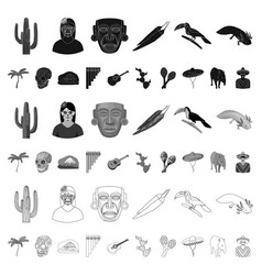Country mexico cartoon icons in set collection vector