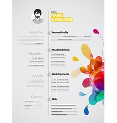 Creative color rich CV resume template vector image