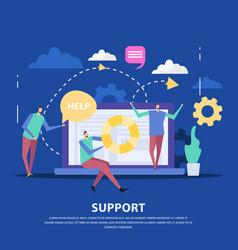 Customer support center flat background vector