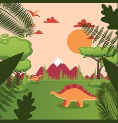 Dinosaur in natural landscape jurassic park vector