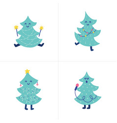 doodles christmas tree vector image