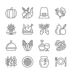 editable stroke thanksgiving day line icon set vector image