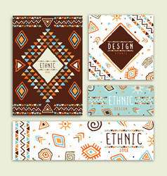 ethnic tribal art hand drawn card collection vector image