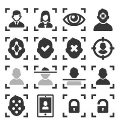 face id scanning icons set on white background vector image