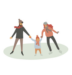 Family at ice rink father mother and child vector
