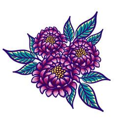 Floral hand drawn vintage flower fabulous purple vector