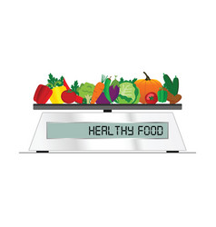 Fruit and vegetable on scales for food vector
