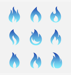 Gas flames icons vector