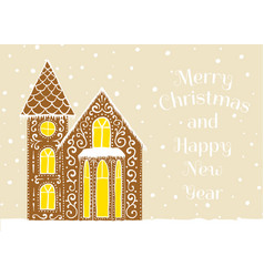 gingerbread house card vector image