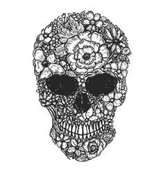 Hand drawn human skull made from flowers botany vector