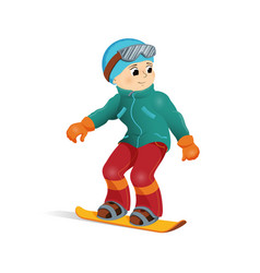 happy funny boy snowboard downhill winter sport vector image