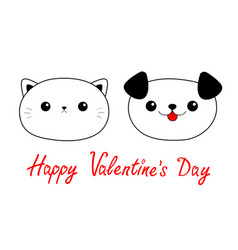 happy valentines day cat dog head face linear vector image
