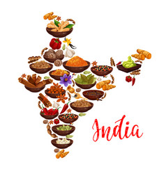 India map of indian spices vector