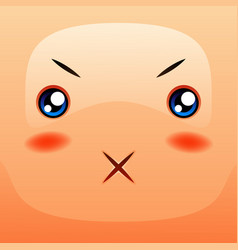 kawaii cute face funny angry muzzle vector image