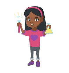 little african girl holding test tube and beaker vector image