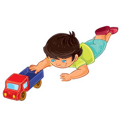 Little boy lies on his stomach and rolls a vector