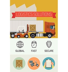 Logistic Solutions Poster Icons vector image