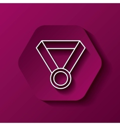 Medal icon Winner design over hexagon vector