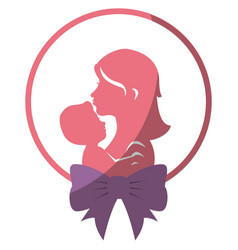 Mom with baby silhouette vector